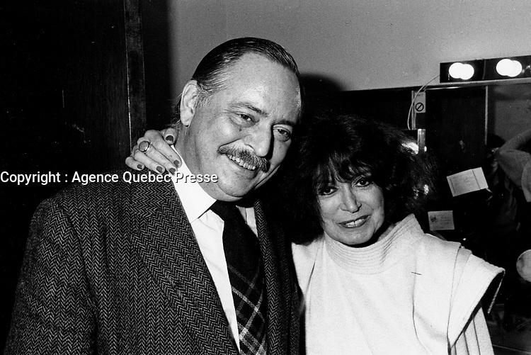 Montreal (Qc) CANADA - 1985 File Photo - Jacques Parizeau and Pauline Julien