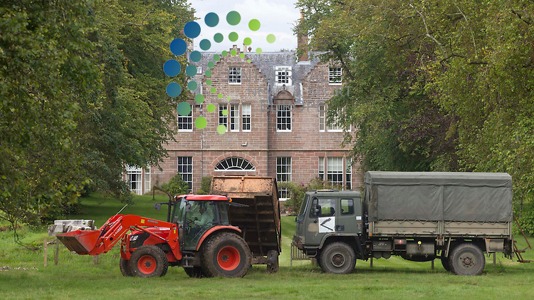 You shall not take photographs: Carnell Estate tries to block photographers taking pictures in Hurlford of the home for two weeks for Angelina Jolie, and her partner Brad Pitt who is filming World War Z in Glasgow..Picture: Universal News And Sport (Scotland). 18 August 2011. www.unpixs.com..
