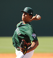 Pitcher Nefi Ogando (39) of the Greenville Drive in a game against the Charleston RiverDogs on June 3, 2012, at Fluor Field at the West End in Greenville, South Carolina. Charleston won, 5-3. (Tom Priddy/Four Seam Images).