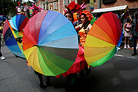 BOGOTA, COLOMBIA - JUL 04: Revelers perform during a LGBTIQ pride parade on July 04, 2021 in Bogota, Colombia. The parade is a protest against violence suffered by the LGBTIQ community in Colombia. (Photo by Leonardo Munoz/VIEWpress)