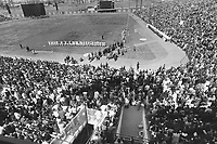 1969 FILE PHOTO - ARCHIVES -<br /> <br /> Filled to overflowing; Montreal's Jarry Park is the scene of the first major league baseball game to be played in Canada. Close to 30;000 fans jammed stadium; which still lacks finishing touches. All seats weren't installed and some patrons had to wait until rented chairs were put in place before they could sit down. It was worth it; however; as the Expos outlasted St. Louis Cardinals; 8-7<br /> <br /> 1969<br /> <br /> PHOTO :  Frank Lennon - Toronto Star Archives - AQP