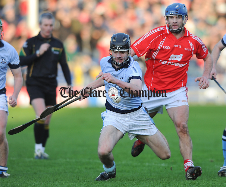 Kieran Breen of Na Piarsaigh in action against Gerry O Grady of Crusheen during their Munster Club final at Thurles. Photograph by John Kelly.