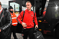 Fleetwood Town's goalkeeper Alex Cairns (1) arriving for the Sky Bet League 1 match between Doncaster Rovers and Fleetwood Town at the Keepmoat Stadium, Doncaster, England on 6 October 2018. Photo by Stephen Buckley / PRiME Media Images.