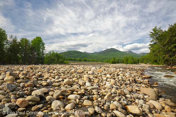 Big Coolidge Mountain (center) from along the East Branch of the Pemigewasset River, near Riverwalk Trail, in Lincoln, New Hampshire during the spring months.