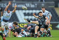24th April 2021; Liberty Stadium, Swansea, Glamorgan, Wales; Rainbow Cup Rugby, Ospreys versus Cardiff Blues; Matthew Aubrey of Ospreys clears the ball from danger