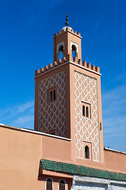 Traditional square mainater of a Mosque on Jemaa el-Fnaa square. Marrakesh, Morocco