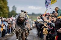 Mathieu van der Poel (NED/Alpecin Fenix) leading the chase on the Mons-en-Pévèle cobble section. <br /> <br /> 118th Paris-Roubaix 2021 (1.UWT)<br /> One day race from Compiègne to Roubaix (FRA) (257.7km)<br /> <br /> ©kramon