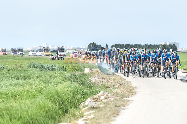 Movistar Team on the front of the peloton during Stage 6 of La Vuelta d'Espana 2021, running 158.3km from Requena to Alto de la Montaña Cullera, Spain. 19th August 2021.    <br /> Picture: Cxcling | Cyclefile<br /> <br /> All photos usage must carry mandatory copyright credit (© Cyclefile | Cxcling)