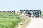 Movistar Team on the front of the peloton during Stage 6 of La Vuelta d'Espana 2021, running 158.3km from Requena to Alto de la Montaña Cullera, Spain. 19th August 2021.    <br /> Picture: Cxcling   Cyclefile<br /> <br /> All photos usage must carry mandatory copyright credit (© Cyclefile   Cxcling)