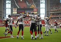 Aug 18, 2007; Glendale, AZ, USA; Houston Texans quarterback Matt Schaub (8) is congratulated by teammates after running for a first half touchdown against the Arizona Cardinals at University of Phoenix Stadium. Mandatory Credit: Mark J. Rebilas-US PRESSWIRE Copyright © 2007 Mark J. Rebilas