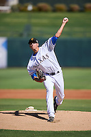 Surprise Saguaros pitcher Brett Martin (27), of the Texas Rangers organization, during a game against the Peoria Javelinas on October 20, 2016 at Surprise Stadium in Surprise, Arizona.  Peoria defeated Surprise 6-4.  (Mike Janes/Four Seam Images)
