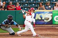 Kolten Wong (4) of the Springfield Cardinals follows through his swing during a game against the Northwest Arkansas Naturals at Hammons Field on June 14, 2012 in Springfield, Missouri. (David Welker/Four Seam Images).