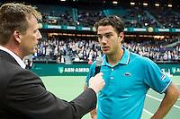 13-02-12, Netherlands,Tennis, Rotterdam, ABNAMRO WTT, Jesse Huta Galung woed geinterviewd door speaker Edward van Cuilenborg