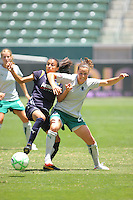 Marta #10 of the Los Angeles Sol battles for a loose ball against Kendall Fletcher #24 of the St. Louis Athletica during their WPS game at The Home Depot Center on July 8,2009 in Carson, California.  St. Louis defeated the Los Angeles Sol 1-0.