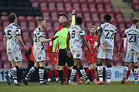 Dan Happe of Leyton Orient is shown a red card and sent off during Leyton Orient vs Forest Green Rovers, Sky Bet EFL League 2 Football at The Breyer Group Stadium on 23rd January 2021