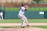 Glendale Desert Dogs relief pitcher Tyler Erwin (43), of the Baltimore Orioles organization, delivers a pitch during an Arizona Fall League game against the Mesa Solar Sox at Camelback Ranch on October 15, 2018 in Glendale, Arizona. Mesa defeated Glendale 8-0. (Zachary Lucy/Four Seam Images)