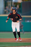 Rochester Red Wings right fielder Jon Kremmer (23) leads off first base during a game against the Lehigh Valley IronPigs on September 1, 2018 at Frontier Field in Rochester, New York.  Lehigh Valley defeated Rochester 2-1.  (Mike Janes/Four Seam Images)