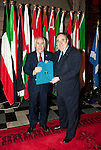 First Minister Alex Salmond, First Minister of Scotland presents His Excellency Mr. Amar Abba (Embassy of Algeria) with a gift following the dinner and reception held at Edinburgh Castle this evening..Pic Kenny Smith, Kenny Smith Photography.6 Bluebell Grove, Kelty, Fife, KY4 0GX .Tel 07809 450119,