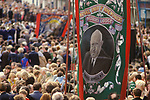Durham Miners Gala Manny Shinwell banner 1980s UK.<br /> Emanuel Shinwell, Baron Shinwell, was a British Labour politician. Born in the East End of London to a large family of Jewish immigrants, he moved to Glasgow, Scotland, as a boy and left school at the age of eleven. He became a trade union organiser and one of the leading figures of Red Clydeside.