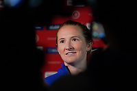 CARSON, CA - FEBRUARY 7: Samantha Mewis #3 of the United States addresses the media during a game between Mexico and USWNT at Dignity Health Sports Park on February 7, 2020 in Carson, California.