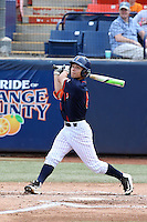 Scott Hurst (6) of the Cal State Fullerton Titans bats against the Wichita State Shockers at Goodwin Field on March 13, 2016 in Fullerton, California. Cal State Fullerton defeated Wichita State, 7-1. (Larry Goren/Four Seam Images)