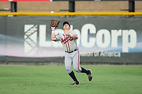 Danville Braves right fielder Garrison Schwartz (18) catches a fly ball during the game against the Burlington Royals at Burlington Athletic Stadium on August 12, 2017 in Burlington, North Carolina.  The Braves defeated the Royals 5-3.  (Brian Westerholt/Four Seam Images)