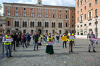 "Rome, Italy. 21st Apr, 2021. Today, Liberare Roma and NiBi (Neri Italiani - Black Italians) held a flash-mob in Piazza San Silvestro (1.) to call the Italian Government led by Mario Draghi (Government supported by all the Italian Parties except the right wing Party Fratelli d'Italia) 2.) to finally make the long awaited reform of the citizenship law which will give the Italian Citizenship to the children who are born and grown up in Italy once called ""Ius Soli"" or ""Ius Culturae"" Law. <br />