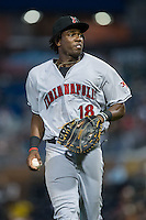 Indianapolis Indians first baseman Josh Bell (18) jogs off the field between innings of the game against the Durham Bulls at Durham Bulls Athletic Park on August 4, 2015 in Durham, North Carolina.  The Indians defeated the Bulls 5-1.  (Brian Westerholt/Four Seam Images)