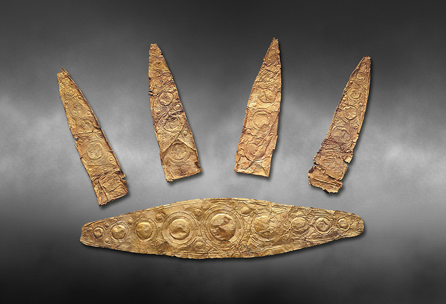 Gold Mycenaean diadem with leaf shaped plates from Grave I, Grave Circle A, Myenae, Greece. National Archaeological Museum Athens. Cat No 184, 185. 16th century BC.  Grey art Background