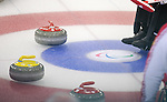 Sochi 2014 - Wheelchair Curling // Curling en fauteuil roulant.<br /> Canada takes on Russia during round robin play // Le Canada affronte la Russie lors du tournoi à la ronde. 08/03/2014.