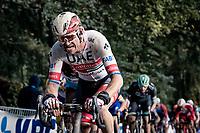 defending champion Alexander Kristoff (NOR/UAE-Emirates) up the Kemmelberg<br /> <br /> 82nd Gent-Wevelgem in Flanders Fields 2020 (1.UWT)<br /> 1 day race from Ieper to Wevelgem (232km)<br /> <br /> ©kramon