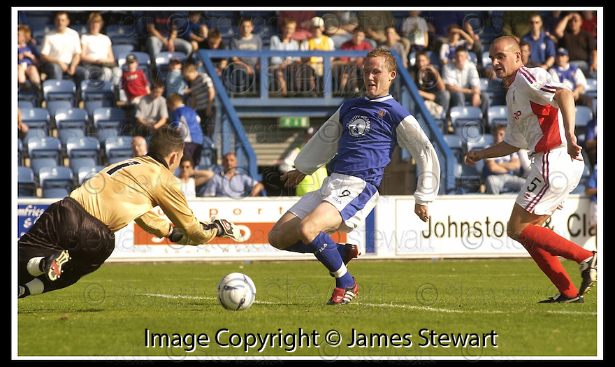 14/9/02       Copyright Pic : James Stewart                     .File Name : stewart-qots v inverness 02.CALEY KEEPER MARK BROWN SAVES AT THE FEET OF PETER WEATHERSON....James Stewart Photo Agency, 19 Carronlea Drive, Falkirk. FK2 8DN      Vat Reg No. 607 6932 25.Office : +44 (0)1324 570906     .Mobile : + 44 (0)7721 416997.Fax     :  +44 (0)1324 570906.E-mail : jim@jspa.co.uk.If you require further information then contact Jim Stewart on any of the numbers above.........