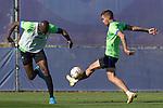 Getafe CF's Allan Nyom and Dario Poveda during training session. October 6,2021.(ALTERPHOTOS/Acero)
