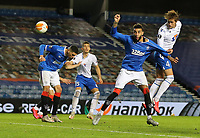 29th October 2020, Ibrox Stadium, Glasgow, Scotland; UEFA Europa League football, group stages; Glasgow Rangers versus Lech Poznan;   Thomas Rogne of Lech Poznan heads towards the goal