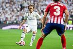 Real Madrid Luka Modric and Atletico de Madrid Filipe Luis during La Liga match between Real Madrid and Atletico de Madrid at Santiago Bernabeu Stadium in Madrid, Spain. September 29, 2018. (ALTERPHOTOS/Borja B.Hojas)