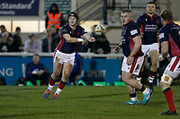Harry Sheppard of London Scottish passing the ball during the Greene King IPA Championship match between London Scottish Football Club and Nottingham Rugby at Richmond Athletic Ground, Richmond, United Kingdom on 7 February 2020. Photo by Carlton Myrie.