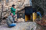 Balkan Lynx (Lynx lynx balcanicus) biologists, Eko Veapi, Dime Melovski, Alexander Pavlov, and former hunter turned conservationist, Plumb Mustafa, checking box trap, Mavrovo National Park, North Macedonia