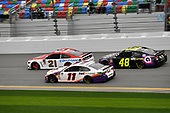 #11: Denny Hamlin, Joe Gibbs Racing, Toyota Camry FedEx Express, #21: Paul Menard, Wood Brothers Racing, Ford Mustang Motorcraft / Quick Lane Tire & Auto Center, and #48: Jimmie Johnson, Hendrick Motorsports, Chevrolet Camaro Ally