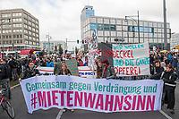 """Ca. 4.000 Menschen beteiligten sich am Donnerstag den 3. Oktober 2019 in Berlin an einer Demonstration unter dem Motto """"Richtig deckeln, dann enteignen! Rote Karte fuer Spekulation"""". Sie forderten die Umsetzung des von der Bausenatorin Lompscher vorgestellten Mietendeckel.<br /> 3.10.2019, Berlin<br /> Copyright: Christian-Ditsch.de<br /> [Inhaltsveraendernde Manipulation des Fotos nur nach ausdruecklicher Genehmigung des Fotografen. Vereinbarungen ueber Abtretung von Persoenlichkeitsrechten/Model Release der abgebildeten Person/Personen liegen nicht vor. NO MODEL RELEASE! Nur fuer Redaktionelle Zwecke. Don't publish without copyright Christian-Ditsch.de, Veroeffentlichung nur mit Fotografennennung, sowie gegen Honorar, MwSt. und Beleg. Konto: I N G - D i B a, IBAN DE58500105175400192269, BIC INGDDEFFXXX, Kontakt: post@christian-ditsch.de<br /> Bei der Bearbeitung der Dateiinformationen darf die Urheberkennzeichnung in den EXIF- und  IPTC-Daten nicht entfernt werden, diese sind in digitalen Medien nach §95c UrhG rechtlich geschuetzt. Der Urhebervermerk wird gemaess §13 UrhG verlangt.]"""