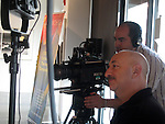 """Dan """"Dano"""" Steinhardt of Epson & cameraman at the Art Wolfe Gallery.<br /> RED ONE video camera with BUILD 21 & Redcine-X software"""