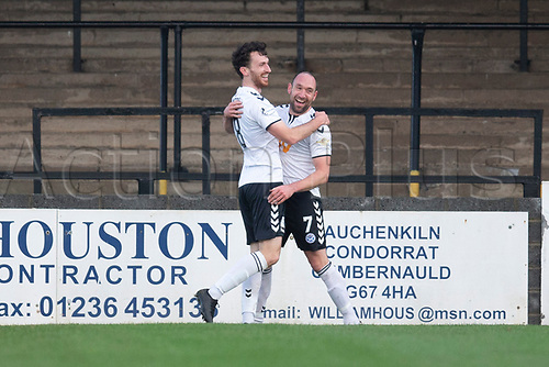 21st November 2020; Somerset Park, Ayr, South Ayrshire, Scotland; Scottish Championship Football, Ayr United versus Dundee FC; Michael Moffat of Ayr United celebrates after scoring for 2-0 in the 16th minute with Joe Chalmers