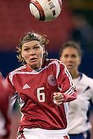 "Denmark's Louise Hansen. The US Women's National Team tied the Denmark Women's National Team 1 to 1 during game 8 of the 10 game the ""Fan Celebration Tour"" at Giant's Stadium, East Rutherford, NJ, on Wednesday, November 3, 2004.."