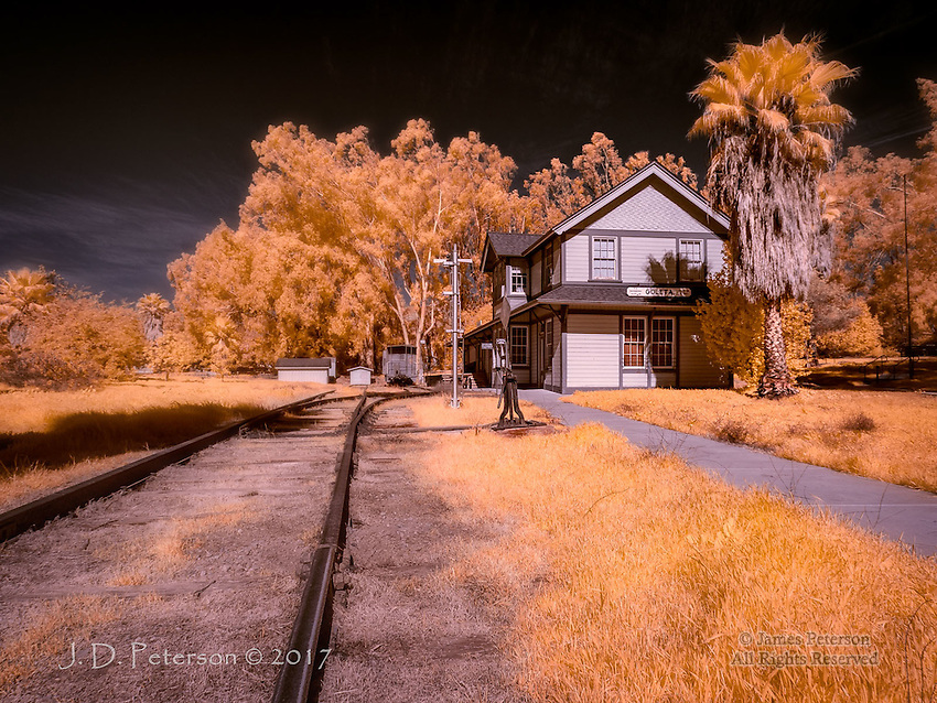 Goleta Station, California (Infrared) ©2017 James D Peterson.  This historic train depot, a few miles north of Santa Barbara, is now preserved as a delightful railroad museum.