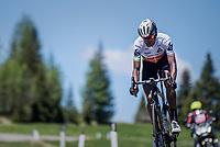 Daniel Teklehaimanot (ERI/Dimension Data) descending the Passo Monte Croce Comelico / Kreuzbergpass (1636m)<br /> <br /> Stage 19: San Candido/Innichen › Piancavallo (191km)<br /> 100th Giro d'Italia 2017