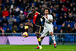 Luis Advincula of Rayo Vallecano (L) fights for the ball with Marcelo Vieira Da Silva of Real Madrid during the La Liga 2018-19 match between Real Madrid and Rayo Vallencano at Estadio Santiago Bernabeu on December 15 2018 in Madrid, Spain. Photo by Diego Souto / Power Sport Images