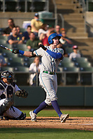 Hartford Yard Goats Michael Toglia (55) hits a home run during a game against the Somerset Patriots on September 11, 2021 at TD Bank Ballpark in Bridgewater, New Jersey.  (Mike Janes/Four Seam Images)