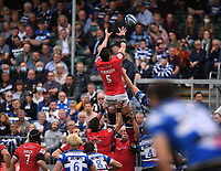 25th September 2021; The Recreation Ground, Bath, Somerset, England; Gallagher Premiership Rugby, Bath versus Newcastle Falcons; Sean Robinson of Newcastle Falcons wins the lineout ball