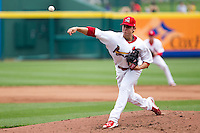 Michael Blazek (33) of the Springfield Cardinals delivers a pitch during a game against the Arkansas Travelers on May 10, 2011 at Hammons Field in Springfield, Missouri.  Photo By David Welker/Four Seam Images.