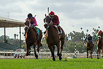 ARCADIA, CA  MARCH 24: #2 Itsinthepost, ridden by Tyler Baze, holds off #9 Hayabusa One, ridden by Victor Espinoza to win the San Luis Rey Stakes (Grade ll), on March 24, 2018 at Santa Anita Park, in Arcadia, CA(Photo by Casey Phillips/ Eclipse Sportswire/ Getty Images)