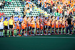 The Hague, Netherlands, June 05: Players of The Netherlands line up for the national anthem prior to the field hockey group match (Women - Group A) between New Zealand and The Netherlands on June 5, 2014 during the World Cup 2014 at Kyocera Stadium in The Hague, Netherlands. Final score 0-2 (0-2) (Photo by Dirk Markgraf / www.265-images.com) *** Local caption ***